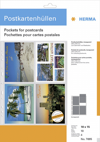 Herma Postcard Pockets 10x15 10x4 Sheets transparent 7695