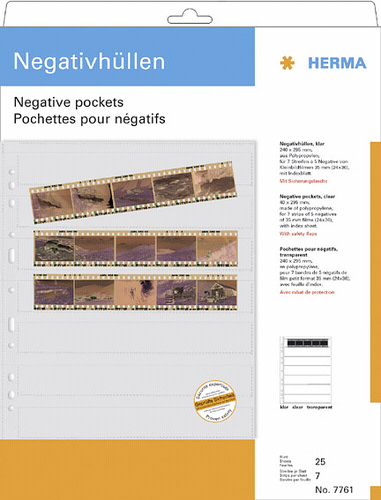 Herma Negative pockets PP clear 25 Sheets/5-Strips 7761