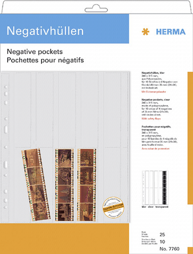 Herma Negative pockets PP clear 25 Sheets/4-Strips 7760