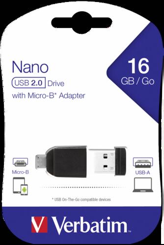 Verbatim Store n Stay NANO 16GB USB 2.0 + OTG Adapter micro USB