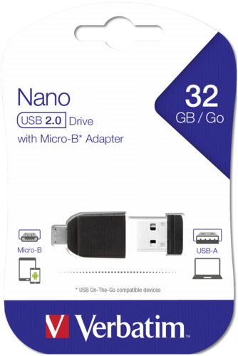 Verbatim Store n Stay Nano 32GB USB 2.0 + OTG Adapter micro USB