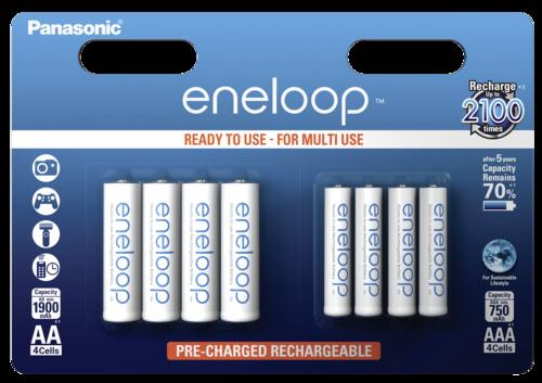 Panasonic Eneloop Kombi-Pack 1x4 AA, 1x4 AAA