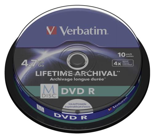 Verbatim M-Disc DVD R 4.7GB 4x Speed Cakebox Printable 1x10