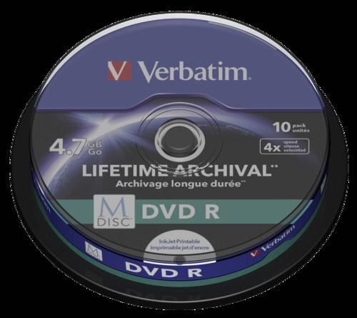 Verbatim M-Disc DVD R 4.7GB 4x Speed Cakebox Printable 1x10