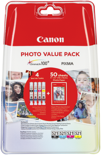 Canon CLI-521 Photo Value Pack (C/M/Y/BK,PP-201 10x15cm)