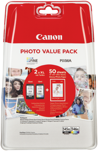 Canon PG-545/CL-546 XL Photo Value Pack + 50 Sheets GP-501 10x15cm