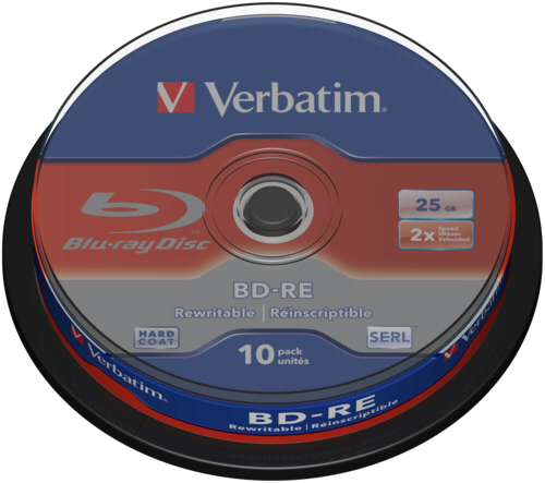Verbatim BD-RE Blu-Ray 25GB 2x Speed Cakebox 1x10