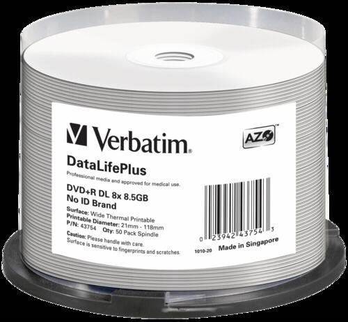 Verbatim DVD+R Double Layer 8.GB Thermal Printable 1x50
