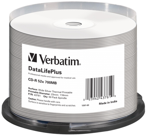 Verbatim CD-R 80 700MB Medidisc Wide Silver Thermal 1x50