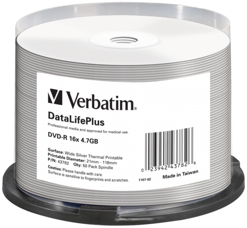 Verbatim DVD-R 4.7GB Wide Thermal Printable 1x50