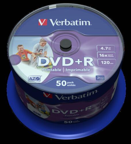 Verbatim DVD+R 4.7GB Wide Printable ID 1x50