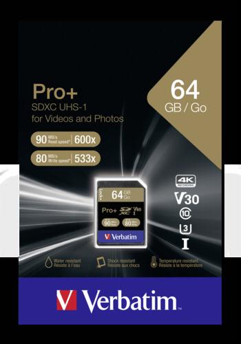Verbatim SDXC Card Pro+ 64GB Class 10