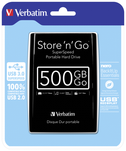 Verbatim Store n Go Portable 500GB USB 3.0 Black