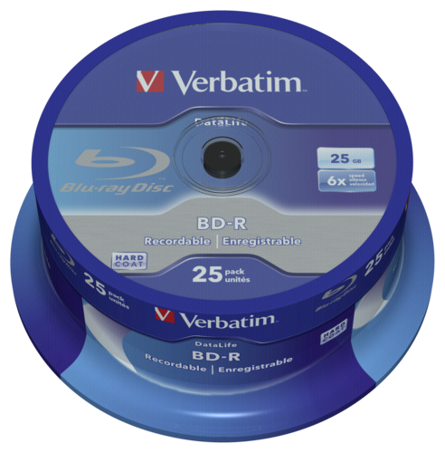 Verbatim BD-R Blu-Ray 25GB 6x Speed Datalife No-ID Cakebox 1x25