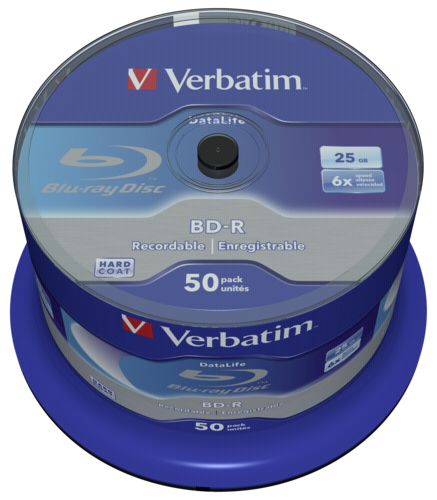 Verbatim BD-R Blu-Ray 25GB 6x Speed Datalife No-ID Cakebox 1x50