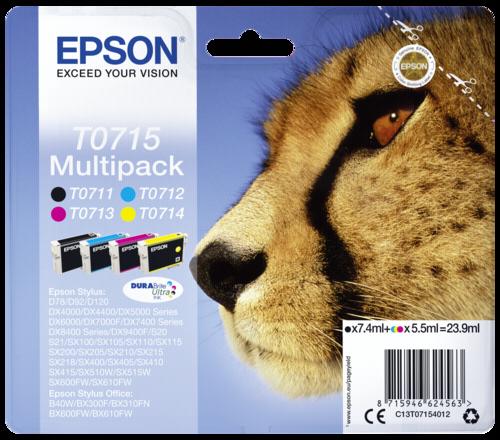 Epson Cartridge T0715 DURABrite Multipack BK/C/M/Y