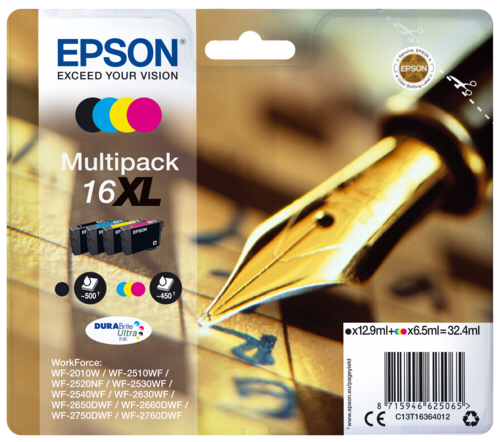 Epson Cartridge T1636 DURABrite Ultra Multipack BK/C/M/Y XL
