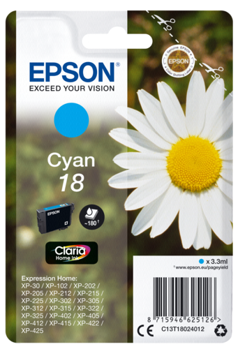 Epson Cartridge T1802 Claria Cyan