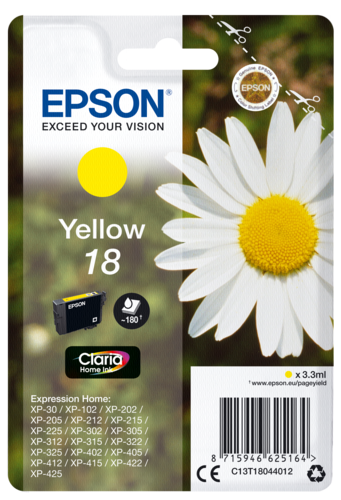 Epson Cartridge T1804 Claria Yellow