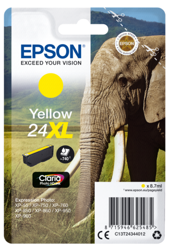 Epson Cartridge T2434 Claria Photo HD Yellow XL