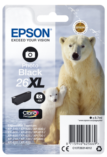 Epson Cartridge T2631 Claria Premium photo black XL