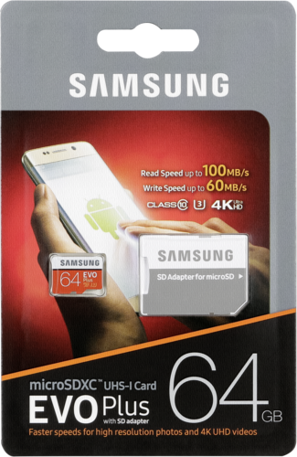Samsung microSDXC EVO Plus 64GB with adapter