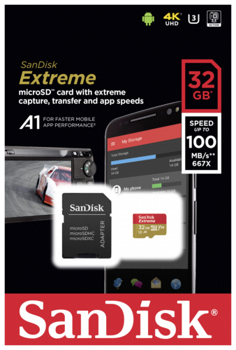 Sandisk Extreme microSDHC A1 32GB 100MB/s V30 + adapter