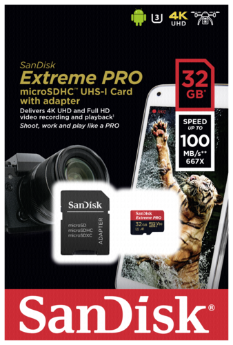 Sandisk Extreme Pro microSDHC A1 32GB 100MB/s V30 + adapter