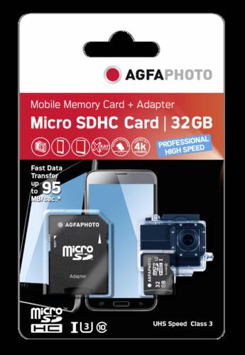 AgfaPhoto microSDHC 32GB High Speed U3 + Adapter
