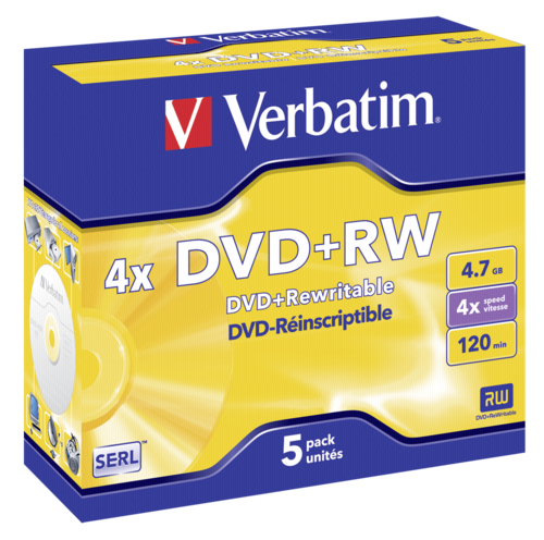 Verbatim DVD+RW 4.7GB 4x Speed mat silver Jewel Case 1x5