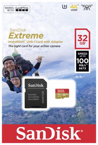 Sandisk Extreme microSD 32GB Action Cam 100MB/s + adapter