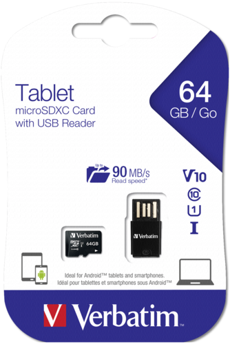 Verbatim microSDXC 64GB UHS-I with USB Card Reader