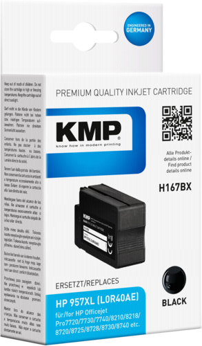 KMP H167BX black ink cartridge compatible with HP L0R40AE 957 XL
