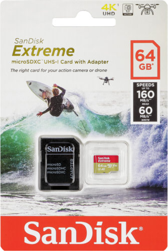 Sandisk Extreme microSDXC Action A2 64GB 160MB/s V30 + adapter