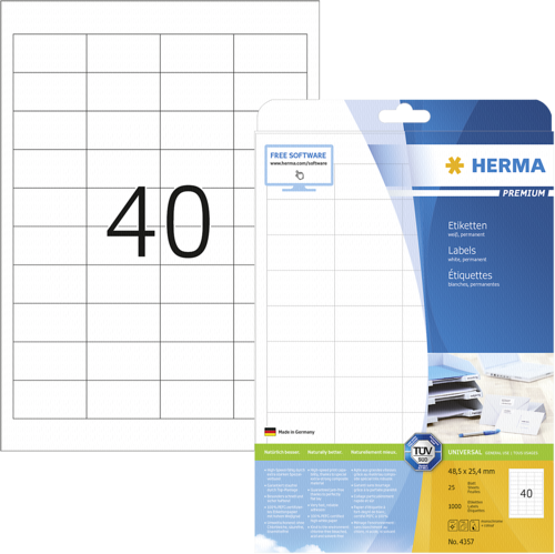 Herma labels white A4 1000 pcs