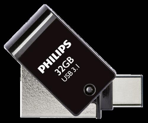 Philips 2 in 1 OTG 32GB USB C + USB 3.1 Black