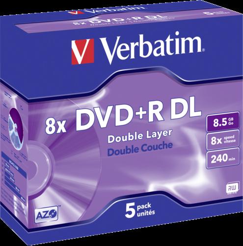 Verbatim DVD+R Double Layer 8x Speed Jewel Case 8.5GB 1x5