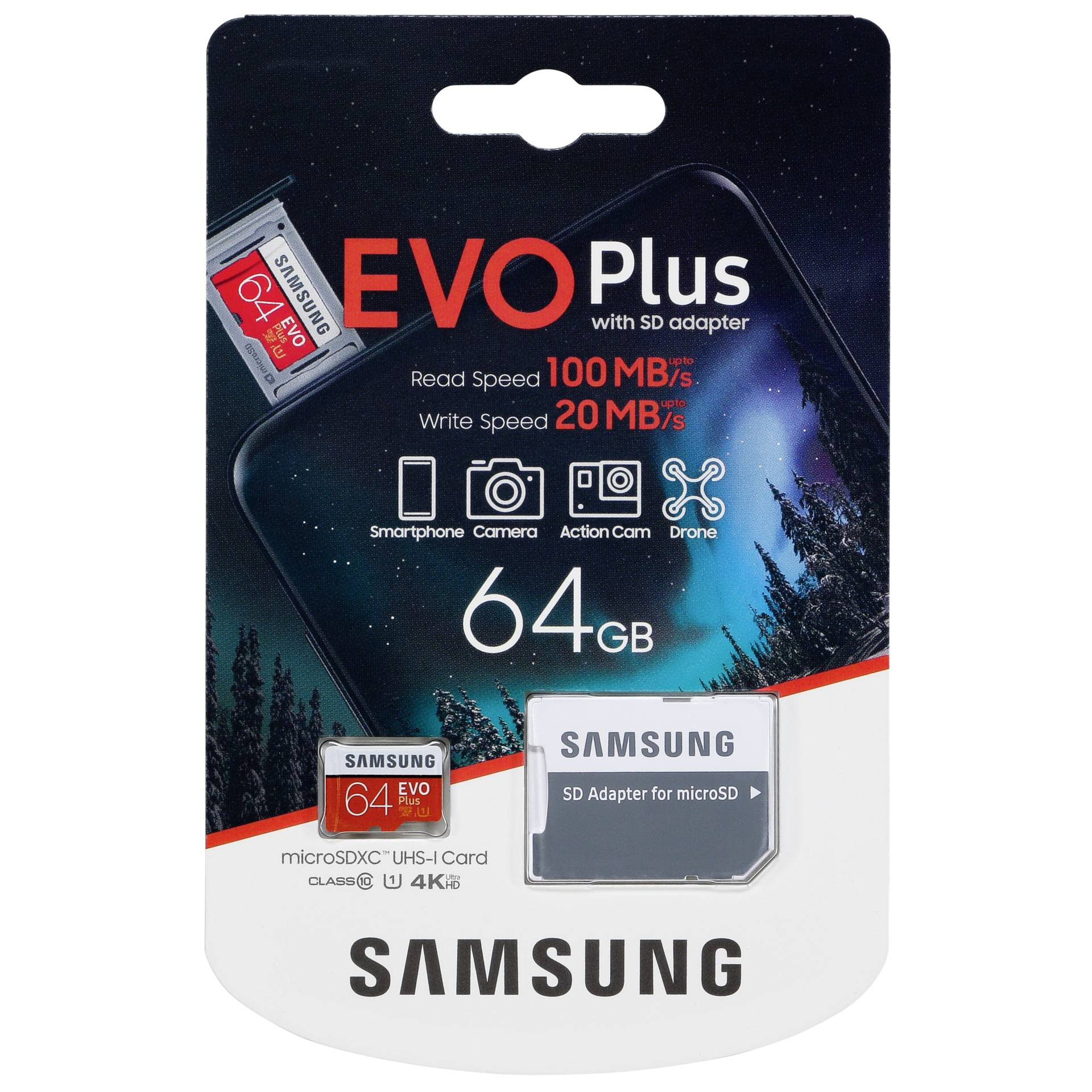 Samsung microSDXC EVO Plus 64GB with adapter UHS-I