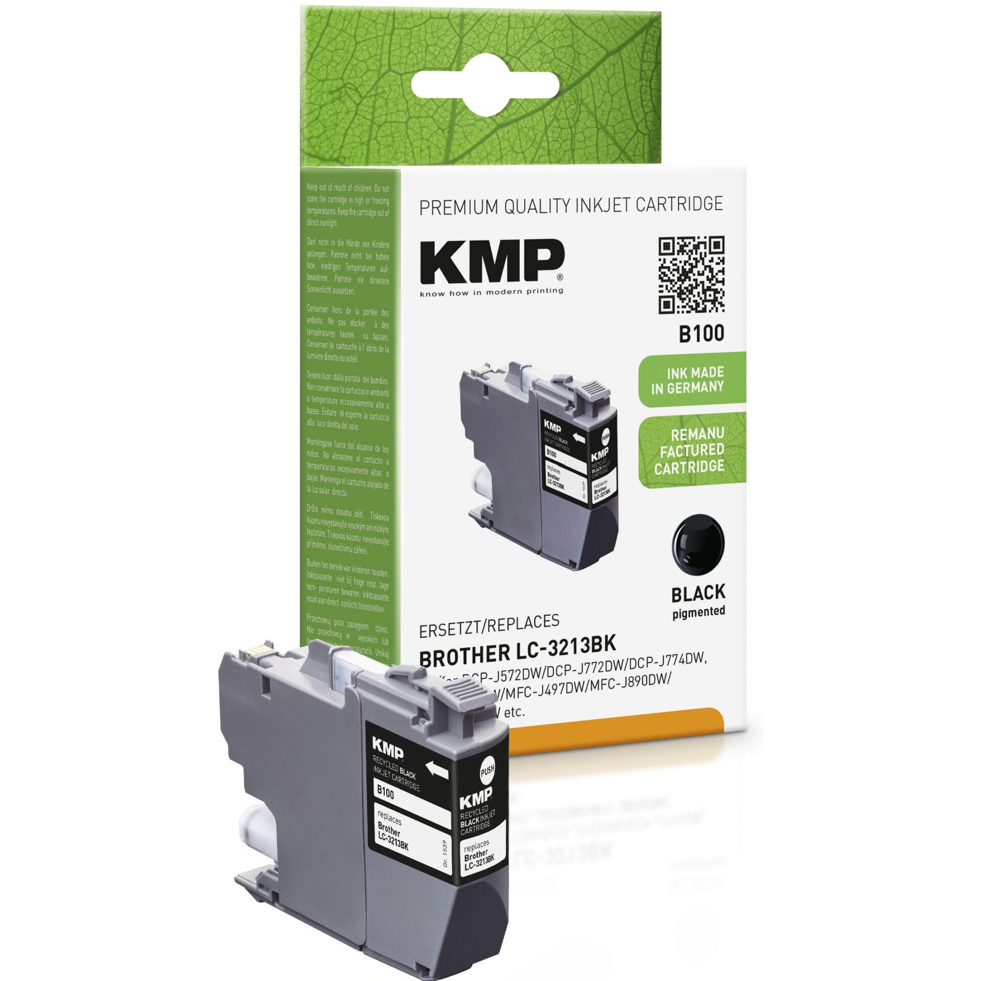 KMP B100 ink cartridge black for Brother LC-3213BK